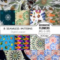Seamless patterns - Flowers Food Snowflakes Fish