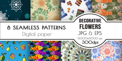 Seamless patterns - Flowers Food Snowflakes Fish