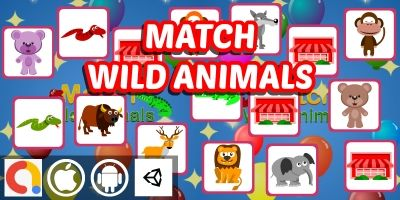 Match Wild Animals - Unity Kids Memory Game