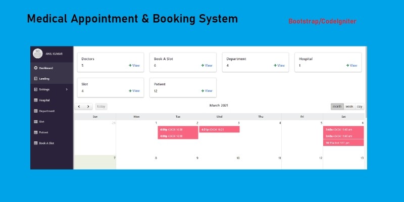 Medical Appointment Booking System in CodeIgniter