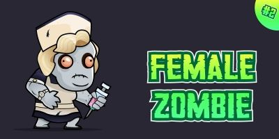 Female Zombie 2D Game Character Sprites 02