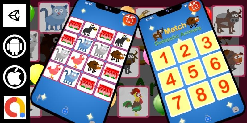 Edukida - Match Domestic Animals Unity Kids Game
