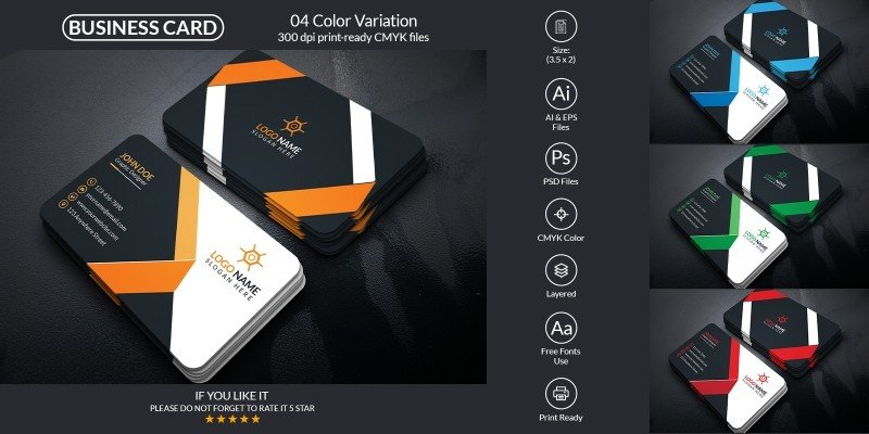 Corporate Business Card Design With Vector Format