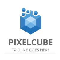 Blue Pixel Cube Logo
