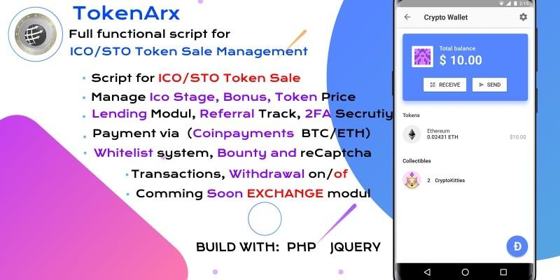 TokenArx ICO STO Token Sale Management Dashboard