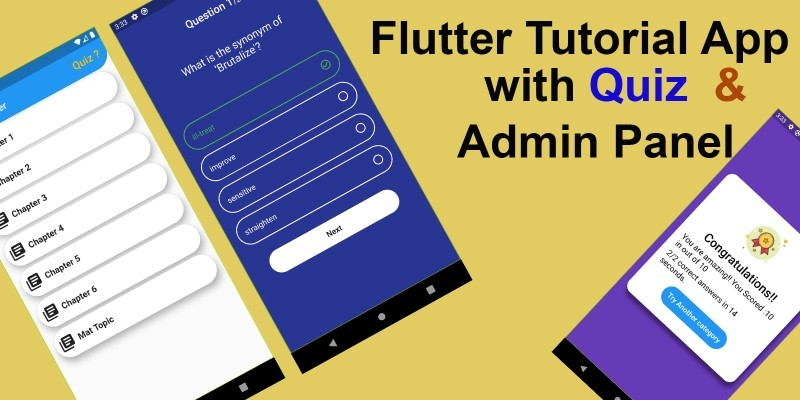 Flutter Tutorial App with Quiz and Admin Panel