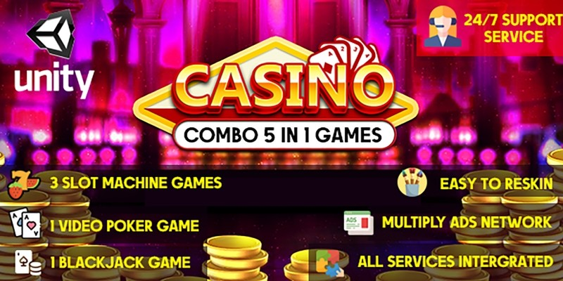Combo Casino Games – 5 In 1 Unity Games