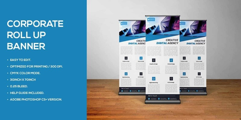 Corporate Roll Up Banner Standee Template Design