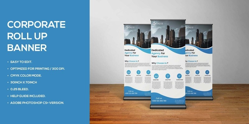 Professional Bluish Business Roll up banner