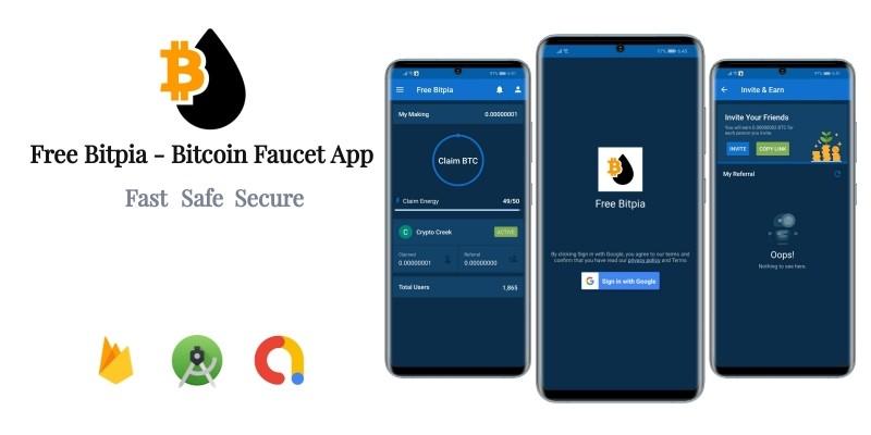 Free Bitpia - Bitcoin Faucet App With Google AdMob