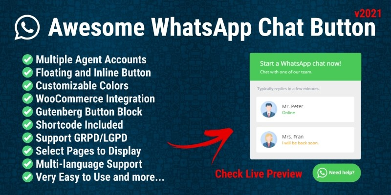 Awesome WhatsApp Chat Button – WordPress Plugin