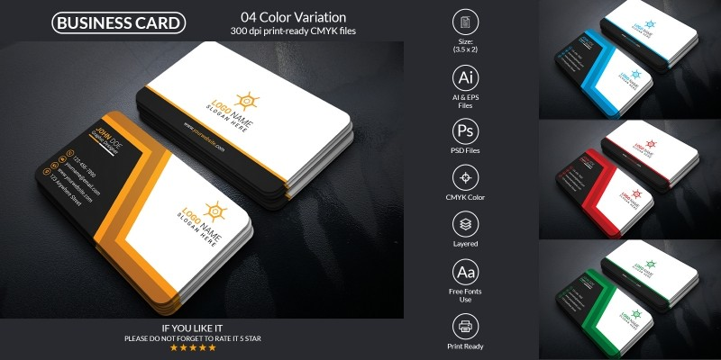 Corporate Business Card With PSD & Vector