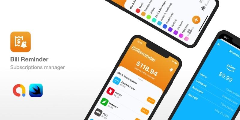 Bill Reminder - SwiftUI iOS App Source Code