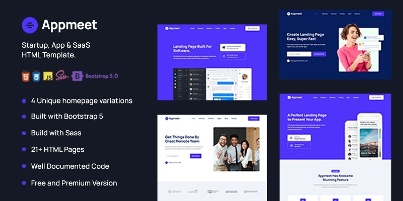 Appmeet – Startup App And SaaS HTML Template
