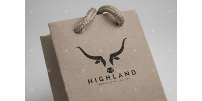 Scottish Highland Cow Logo Template