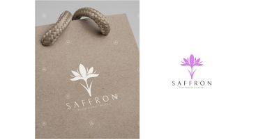 Saffron Flower Logo Template