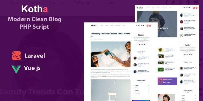 Kotha - Modern Blog PHP Script with Vue.js