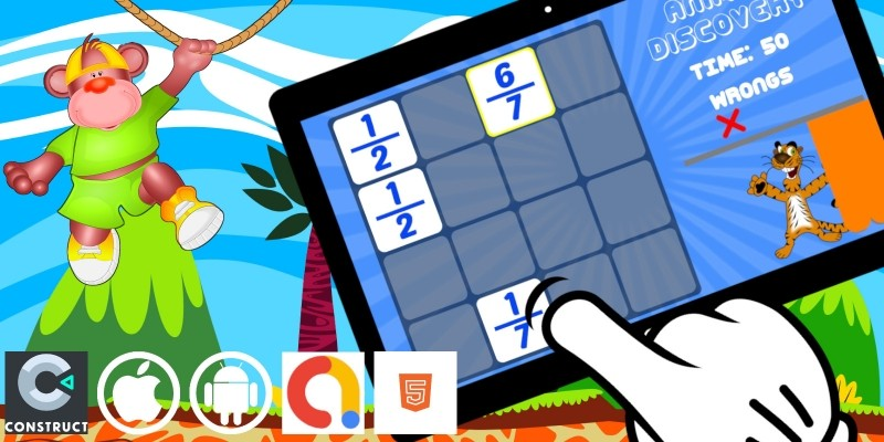 Animal Discovery Kids Math Construct 3 HTML5 Game