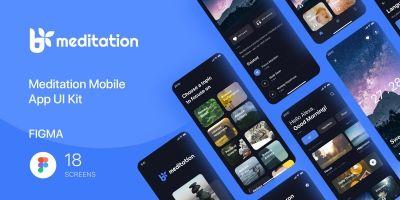 Meditation - Mobile App UI Kit - Figma