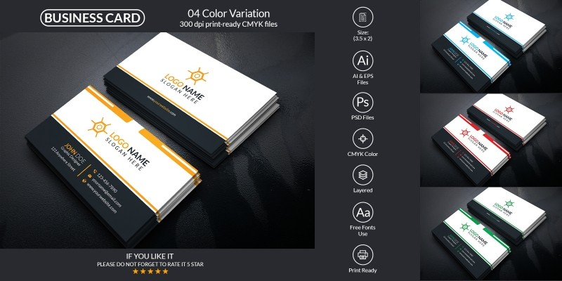 Corporate Business Card With Vector And PSD Form