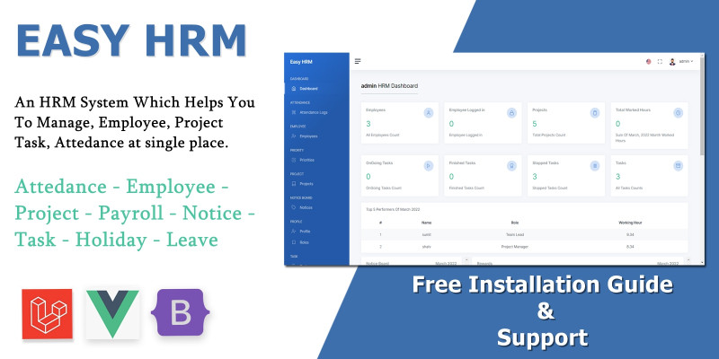 Easy Hrm - Employee And Project Management Tool