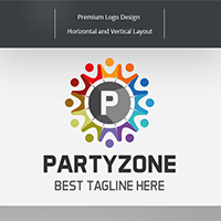 Party Zone - Letter P Logo