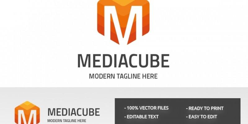 Letter M Media Cube Logo