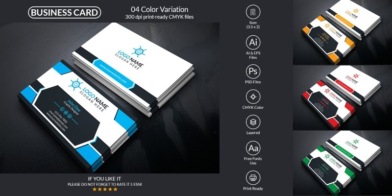 Business Card With Vector And PSD Format