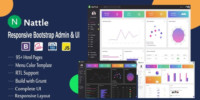 Nattle - Responsive Bootstrap Admin Dash
