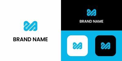 Letter M Tech Logo Design