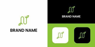 Letter N Logo Leaf Design Template