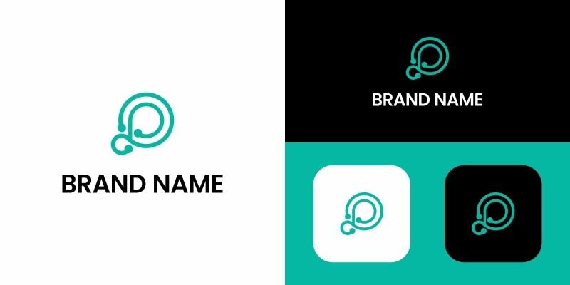 Letter P Logo Tech Design Template