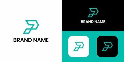 Letter P Logo Line Design Template