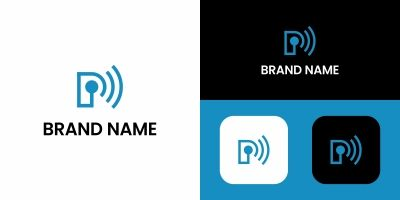 Letter P Logo Wifi Design Template
