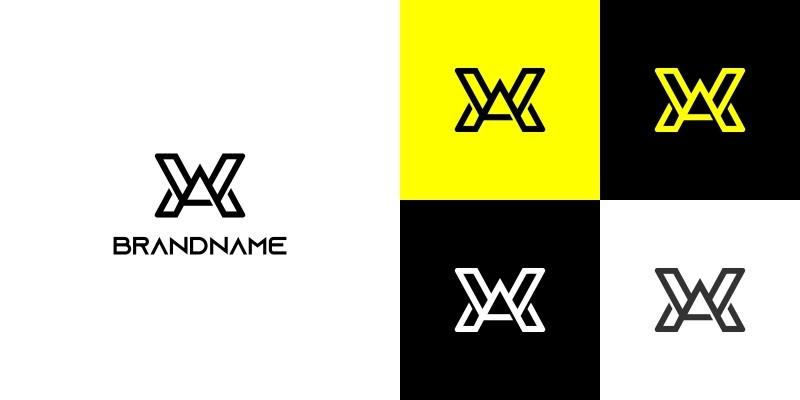 Modern Letter WA or AW Logo