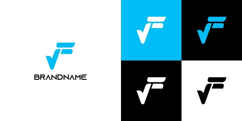 Letter F and Checkmark Logo