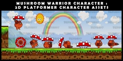Mushroom Warrior Character - 2D Assets
