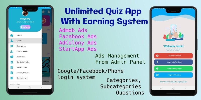 Unlimited Quiz App with Earning System Android