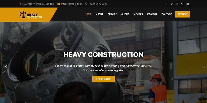 Heavy Construction - Builder Landing Page Template