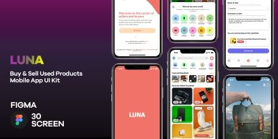 Luna - Buy And Sell Used Products Mobile App UI Ki