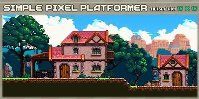 Simple Pixel Platformer Tileset 1