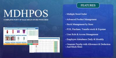 MDHPOS - Point Of Sale Multi Store With HRM