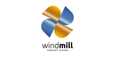 Wind Mill and Energy Logo
