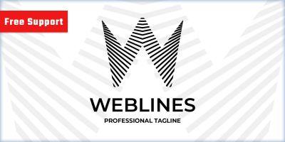 Web Lines Letter W Company Logo