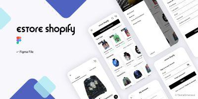 eStore Shopify - Figma Mobile Application UI Kit