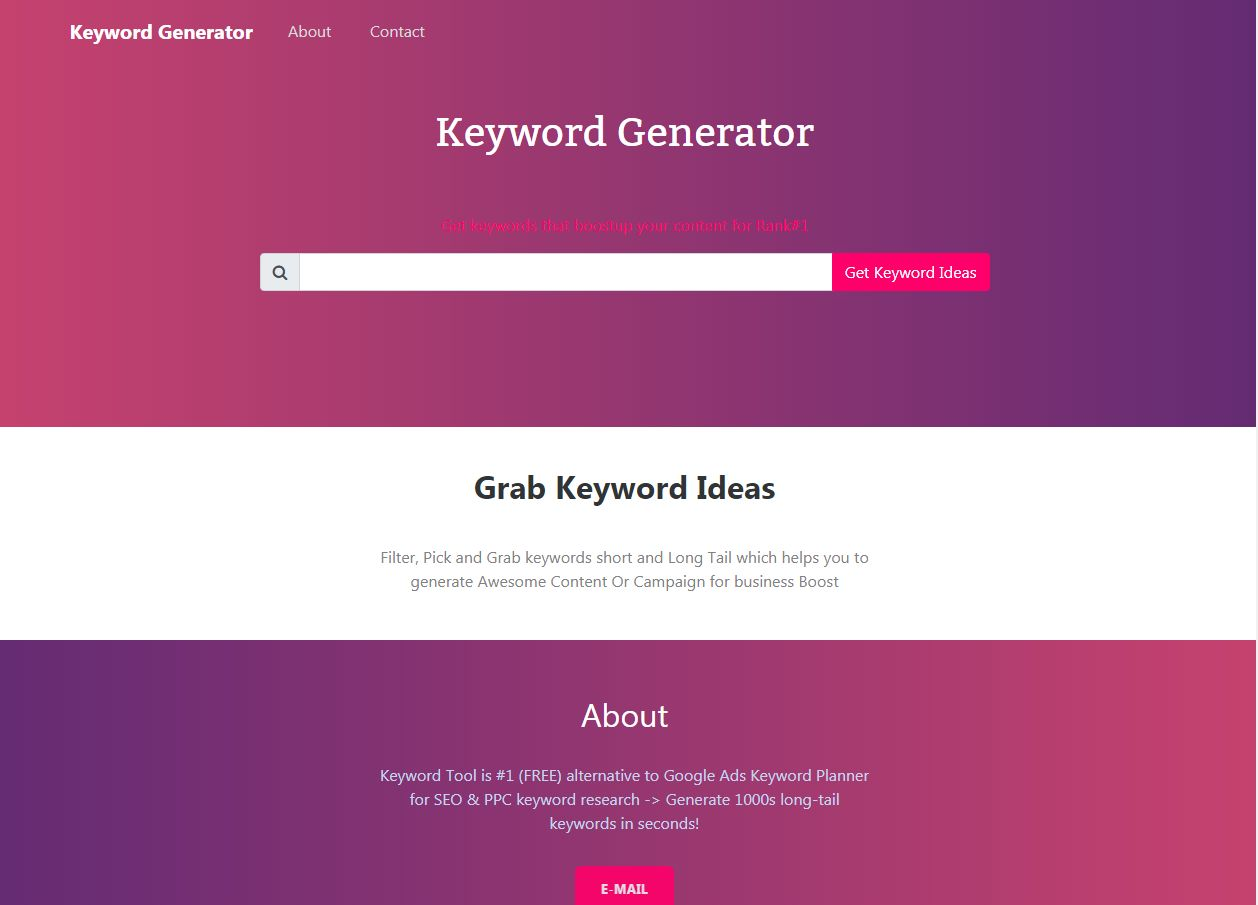 Keyword Generator With Admin PHP Script Screenshot 1