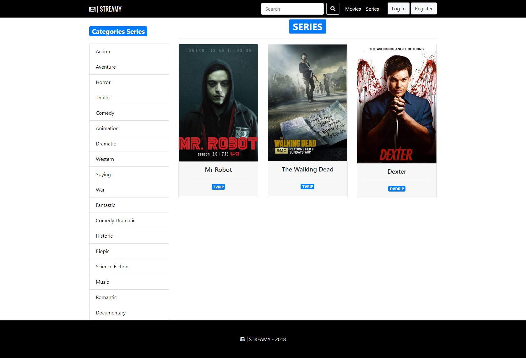 Streamy - Movies And Series Streaming Platform PHP Screenshot 24