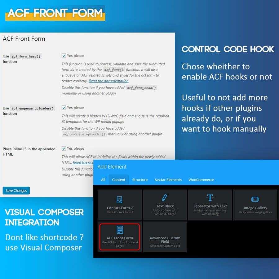 ACF Front Form with Visual Composer Integration Screenshot 1