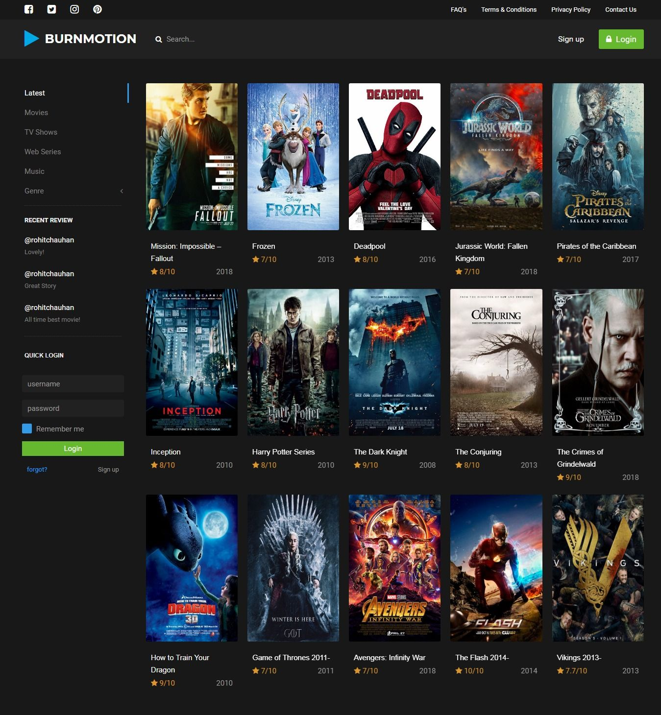 BurnMotion - Movies And TV Database PHP Screenshot 1