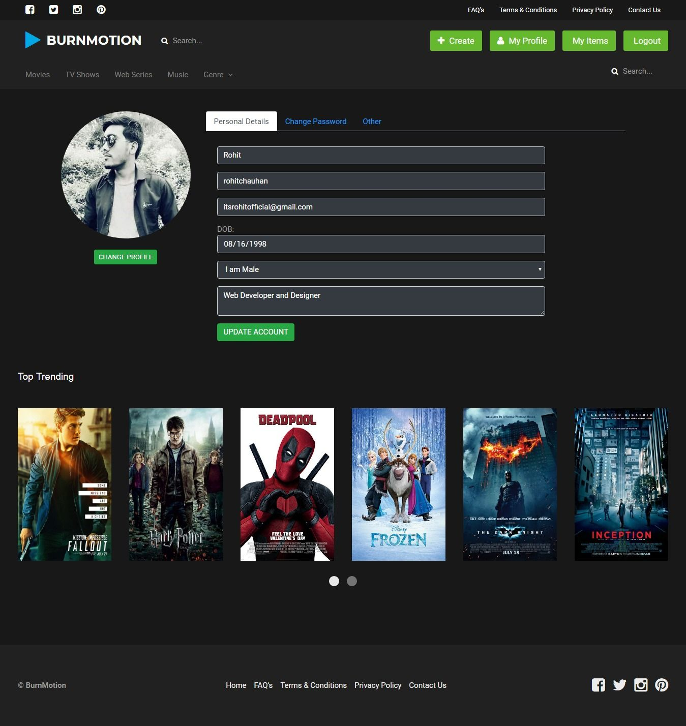 BurnMotion - Movies And TV Database PHP Screenshot 4
